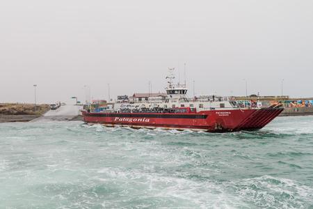 strait of magellan: MAGELLAN STRAIT - MARCH 3, 2015: Ferry over Magellan strait between Tierra del Fuego island and mainland, Chile
