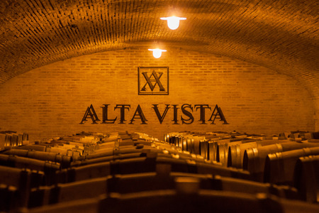 CHACRAS DE CORIA, ARGENTINA - AUG 1, 2015: Wine cellar of winery Altavista in Chacras de Coria village, near Mendoza, Argentina