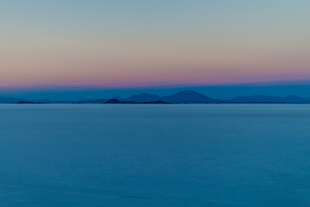 salt flat: Sunrise on Salar de Uyuni salt flat, Bolivia