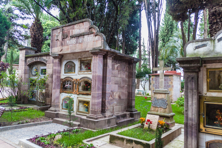 municipal: SUCRE, BOLIVIA - APRIL 21, 2015:  Tombs at Cementerio Municipal cemetery in Sucre, Bolivia
