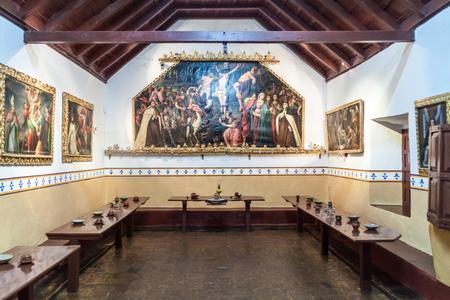 convento: POTOSI, BOLIVIA - APRIL 19, 2015: Dining hall of the Convento de Santa Teresa monastery, Potosi, Bolivia