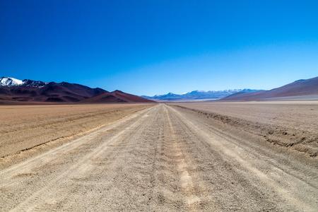 avaroa: Dust road in Salvador Dali Desert in Eduardo Avaroa Andean Fauna National Reserve, Bolivia