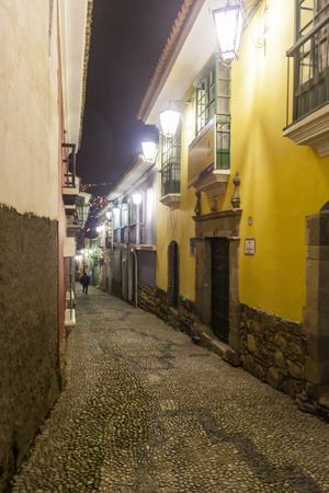 places of interest: Night view of Jaen street in a historical center of La Paz, Bolivia Stock Photo
