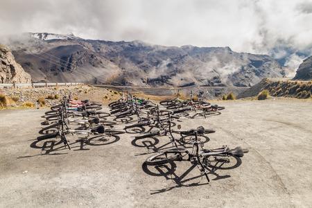 dangerous road: LA CUMBRE, BOLIVIA: APRIL 29, 2015: Bicycles prepared for descent of The Worlds most dangerous road at La Cumbre pass (altitude 4700 m) in Bolivia. Editorial