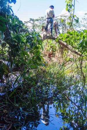 guia turistico: MADIDI, BOLIVIA - 8 de mayo, 2105: Nativo de caza de guía turístico en una selva del Parque Nacional Madidi, Bolivia