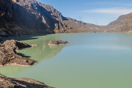 altitude: Zongo dam, located in Zongo pass in the altitude of 4700m, Bolivia. Stock Photo