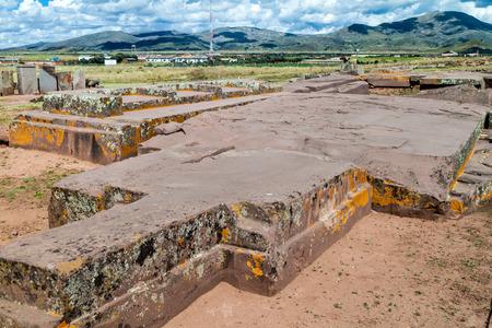 Plataforma Litica, 131 tons weighting stone at Pumapunku ruins, Pre-Columbian archaeological site, Bolivia