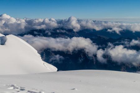 crevasse: View of Cordillera Real mountain range from Huayna Potosi mountain, Bolivia