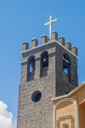 pablo: Tower of Catedral san Pedro y san Pablo (cathedral of st. Peter and st. Paul) in Coroico, Bolivia