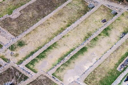 inca ruins: Aerial view of agricultural terraces of Inca ruins of Ollantaytambo, Sacred Valley of Incas, Peru Stock Photo