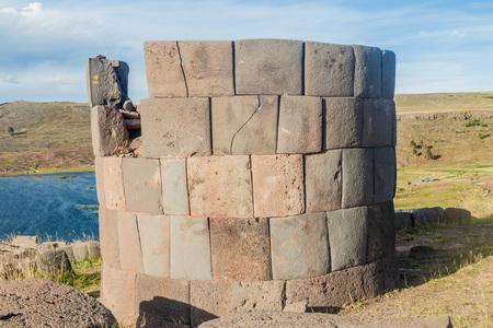 funerary: Ruin of a  funerary tower in Sillustani, Peru