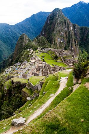 machu picchu: Aerial view of Machu Picchu ruins, Peru