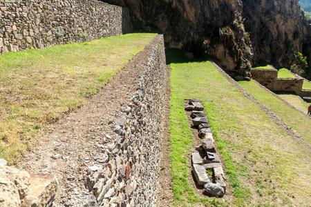 inca ruins: Agricultural terraces at Inca ruins of Ollantaytambo, Sacred Valley of Incas, Peru