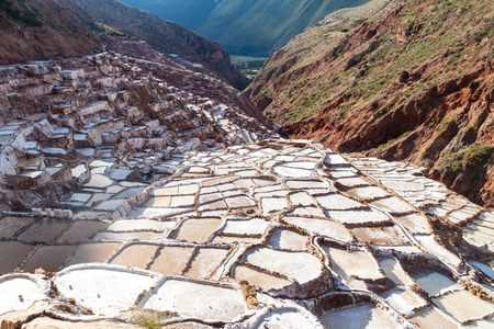 sacred valley: Salt extraction pans (Salinas) in Sacred Valley of Incas, Peru Stock Photo