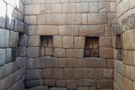 incan: Perfect Inca stonework of Temple of the Sun at Machu Picchu ruins, Peru