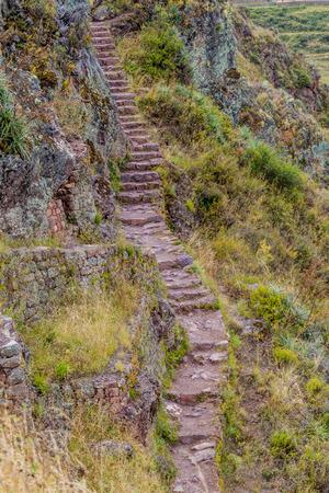 pisaq: Narrow stairway at Pisac ruins, Peru Stock Photo