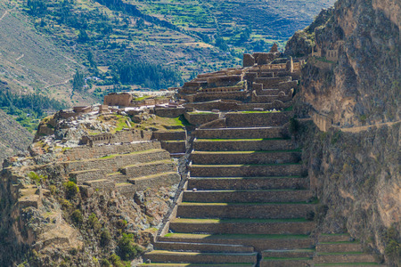 sacred valley of the incas: Inca agricultural terraces in Ollantaytambo, Sacred Valley of Incas, Peru