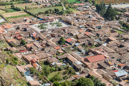 sacred valley: Aerial view of Ollantaytambo, Sacred Valley, Peru