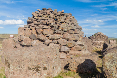 funerary: Ruins of a funerary tower Sillustani, Peru