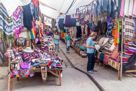 pisaq: PISAC, PERU - MAY 22, 2015: Famous indigenous market in Pisac, Sacred Valley of Incas, Peru.
