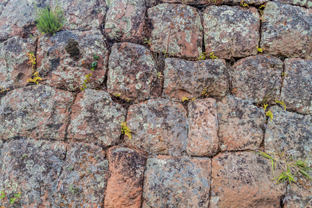 pisac: Detail of ancient Incas wall near Pisac village, Peru