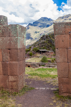 sacred valley of the incas: Ancient Incas ruins in Pisac village, Sacred Valley of Incas, Peru