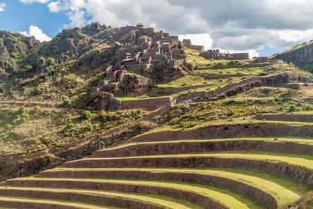 pisaq: Ancient Incas agricultural terraces near Pisac village, Peru Stock Photo