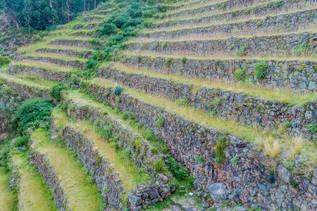 pisac: Inca agricultural terraces in Pisac, Peru Stock Photo