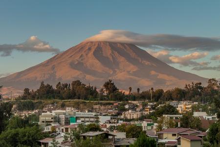 Misti volcano behind Arequipa, Peru