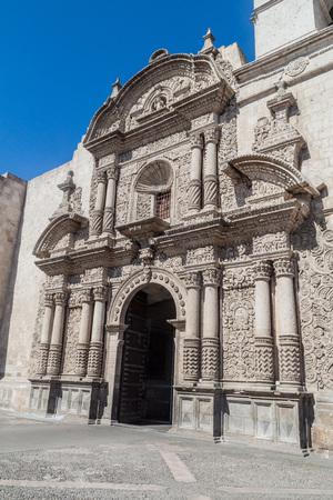la compania: Front facade of La Compania church in Arequipa, Peru