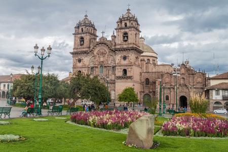 la compania: CUZCO, PERU - MAY 25, 2015:  La Compania de Jesus church on Plaza de Armas square in Cuzco, Peru.