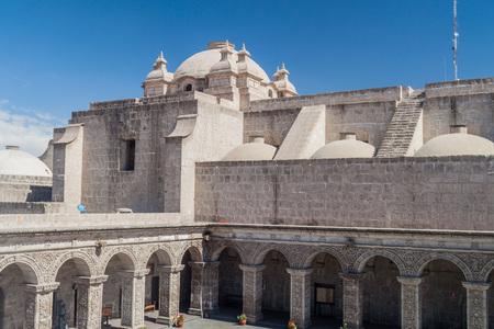 la compania: Courtyard of La Compania church in Arequipa, Peru Stock Photo