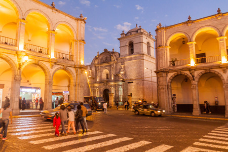 plaza de armas: AREQUIPA, PERU - MAY 26, 2015: Colonial houses on Plaza de Armas square in Arequipa, Peru
