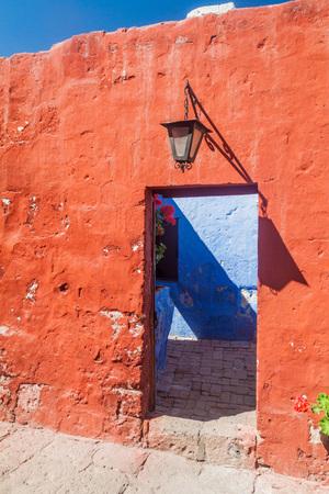 catholic nuns: Door in Santa Catalina monastery in Arequipa, Peru