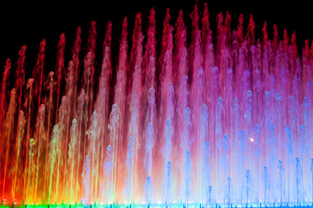 water flow: El Circuito Magico del Agua - park with a series of different fountains in Lima, Peru.