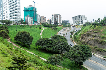 High apartment buildings in Miraflores district of Lima, Peru.