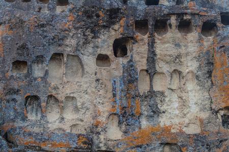 niches: Pre-Inca necropolis with funerary niches called Ventanillas de Otuzco in northern Peru