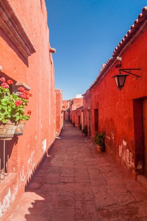catholic nuns: Alley in Santa Catalina monastery in Arequipa, Peru Stock Photo