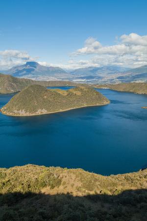 crater lake: Volcanic crater lake Laguna Cuicocha in Ecuador Stock Photo