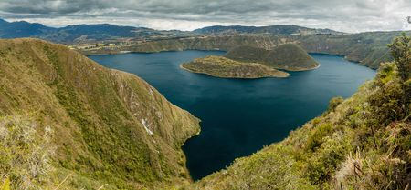 crater lake: Crater lake Laguna Cuicocha, Ecuador