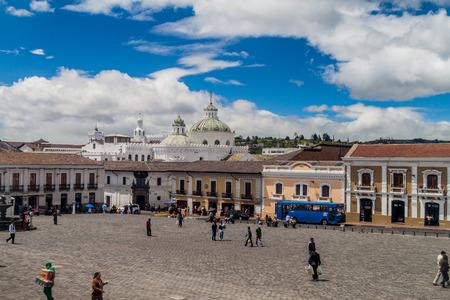 la compania: QUITO, ECUADOR - JUNE 24, 2015: Plaza San Francisco square and La Compania de Jesus church in old town of Quito, Ecuador Editorial