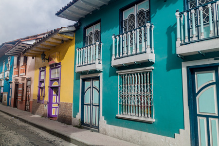 loja: Colorful colonial houses in Lourdes lane in Loja, Ecuador Stock Photo