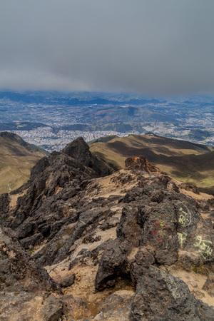 inhospitable: View of Quito (capital of Ecuador) from Rucu Pichincha volcano Stock Photo
