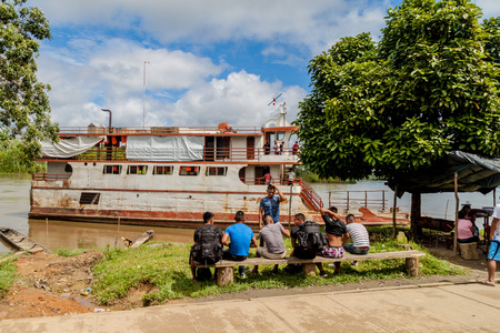 plies: PANTOJA, PERU - JULY 12, 2015: Cargo boat Arabela I plies river Napo, Peru Editorial