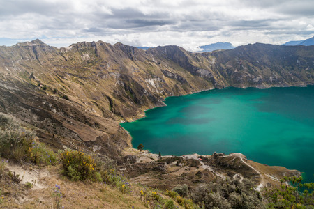 crater highlands: Laguna Quilotoa - volcanic crater lake in Ecuador
