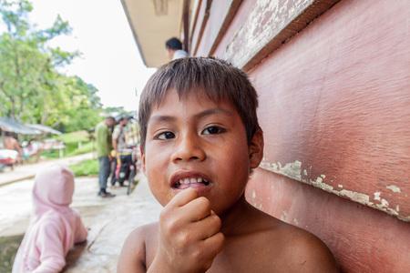 amazonian: PANTOJA, PERU - JULY 12, 2015: Child living in small village Napo in amazonian jungle, Peru