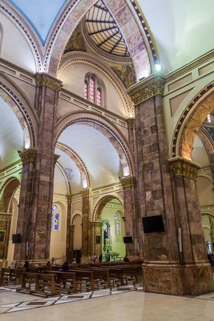 worship service: CUENCA, ECUADOR - JUNE 17, 2015: Interior of New Cathedral (Catedral de la Inmaculada Concepcion), Cuenca, Ecuador