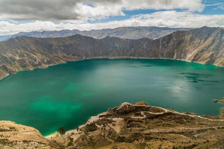 crater lake: Crater lake Laguna Quilotoa, Ecuador