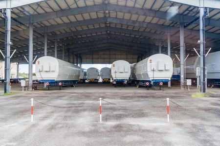 soyuz: KOUROU, FRENCH GUIANA - AUGUST 4, 2015: Segments of Soyuz rockets at Soyuz Launch Complex at Centre Spatial Guyanais (Guiana Space Centre) in Kourou, French Guiana