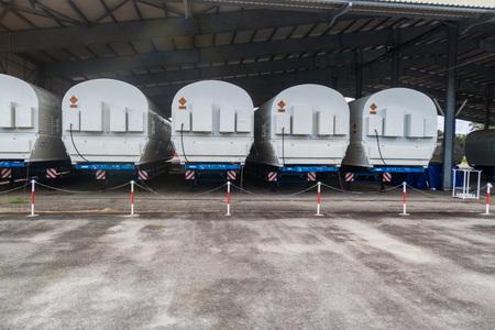 soyuz: Segments of Soyuz rockets at Soyuz Launch Complex at Centre Spatial Guyanais (Guiana Space Centre) in Kourou, French Guiana Stock Photo